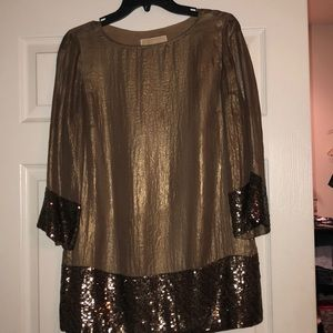 Michael Kors organza tunic with sequined trimming